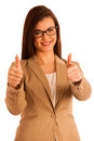 Successful young business woman showing thumbs up as a gesture f for success isolated over white Royalty Free Stock Image