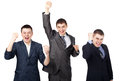 Successful young businesspeople raising hands Stock Images