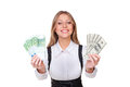 Successful young businesswoman holding money Stock Photos