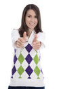 Successful young isolated woman passed her exam successfully thumbs up Stock Photos