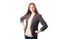 Successful young redhead business woman with with hand on her waist over white background Royalty Free Stock Photos