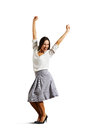 Successful young woman raising hands up isolated on white background Stock Images