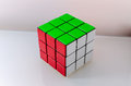 Successfully solved rubiks cube problem solving concept Stock Image
