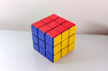 Successfully solved rubiks cube problem solving concept Stock Photo