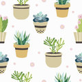 Succulent and cactus seamless pattern. Flat style background. Colorful vector illustration.