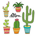 Succulent and cactus set. Cartoon plants in pots. Vector illustration set with cute house interior plants Royalty Free Stock Photo