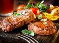 Royalty Free Stock Image Succulent fillet steak and roast vegetables