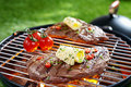 Succulent portion lean steak topped butter herbs grilling grid over hot coals barbecue Stock Photography