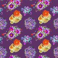 Succulent red and blue blooming plants and stones top view, seamless pattern design in bright neon colors palette on dark purple Royalty Free Stock Photo