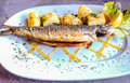 Succulent signature natural fresh grilled Trout with potato baked on white plate with marble table background, Hallstatt, Austria Royalty Free Stock Photo
