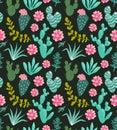 Succulents cacti plant vector seamless pattern. Botanical green desert flora fabric print.
