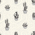 Succulents and cacti plants on the dot background. Vector seamless pattern with home garden cartoon cactus.