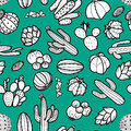 Succulents and cactus in black outline on retro green background