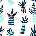 Succulents plants seamless pattern