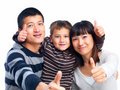 Succussful asian family giving thumbs up Royalty Free Stock Photos