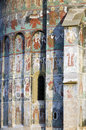 Sucevita monastery exterior paintings at sucevița is an eastern orthodox convent situated in the northeastern part of romania it Royalty Free Stock Photography