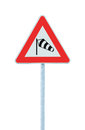 Sudden side cross winds likely ahead road sign, isolated traffic warning flying sock crosswinds sidewind signage, danger windsock Royalty Free Stock Photo