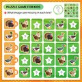 Sudoku puzzle. What images are missing in each line? Farm animals. Poultry. Turkey, goose, duck, Drake, hen. Logic puzzle for kids Royalty Free Stock Photo