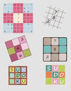 Sudoku set of vector illustrations of game including icon Stock Image