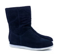 Suede boots dark blue isolated on white Stock Images