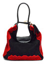 Suede women bag black and red isolated on white Stock Images