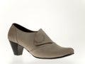 Suede women shoe beige high heeled Stock Photo