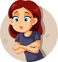 Sad Girl Itching and Scratching Vector Illustration