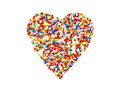 Sugar beads colorful heart small of colored pearls Stock Image
