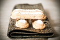 Sugar biscuit sponge fingers on brown napkin Royalty Free Stock Photo