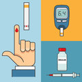 Sugar blood test. Hand holding Glucose Meter. Insulin