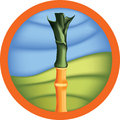 A sugar cane on a round badge on white background Stock Photos