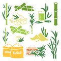 Sugar cane, sugarcane plant harvest vector icons isolated on white background Royalty Free Stock Photo