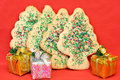 Sugar Christmas Tree Cookies Royalty Free Stock Image