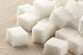 Sugar cubes close up of on wood Stock Image