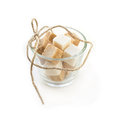 Sugar cubes in glass bowl on white background Royalty Free Stock Photography