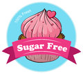 A sugar free label with a fresh cupcake illustration of on white background Stock Photos