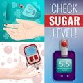 stock image of  Sugar glucose meter banner set, cartoon style