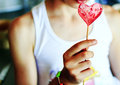 Sugar heart on a stick Royalty Free Stock Images