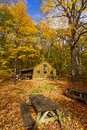 Sugar shack in fall where maple syrup is made quebec canada Stock Photo