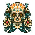 Sugar skull with flower border Royalty Free Stock Photo