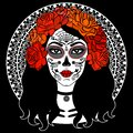 Sugar Skull Girl. Day Of Dead, Traditional Mexican Halloween, Dia De Los Muertos. Woman with makeup sugar skull with roses flowers Royalty Free Stock Photo