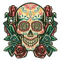 Sugar skull, with a gun and a rose Royalty Free Stock Photo