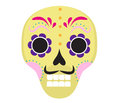 Sugar skull icon, flat, cartoon style. Cute dead head, skeleton for the Day of the Dead in Mexico. Isolated on white