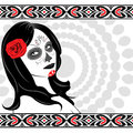 Sugar skull lady vector of with face paint for day of the dead dia de los muertos Royalty Free Stock Image