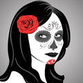 Sugar skull lady vector of with face paint for day of the dead dia de los muertos Stock Image