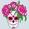 Sugar skull with pink roses.