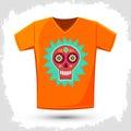 Sugar skull t shirt print illustration creative cloth design template vector available Stock Photos