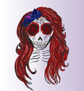 Sugar skull vector image of girl s Stock Photography