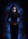 Sugar skull woman with rose Royalty Free Stock Photo