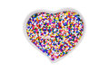 Sugar sprinkle in the heart container cup Royalty Free Stock Photo